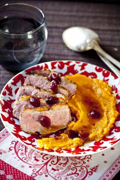 Magret de canard aux cranberries, purée de patates douces 1