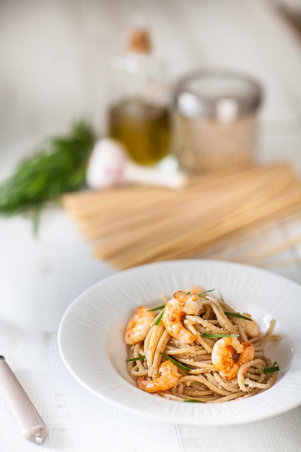 Spaghetti pesto sésame et crevettes sautées©AnneDemayReverdy01