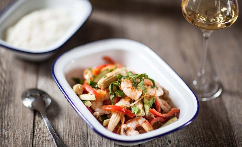 Sauté de crevettes légumes et lait de coco à la Thaï, Grand cru Frankstein Charles Frey