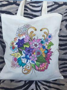 rita blommor med textilpennor