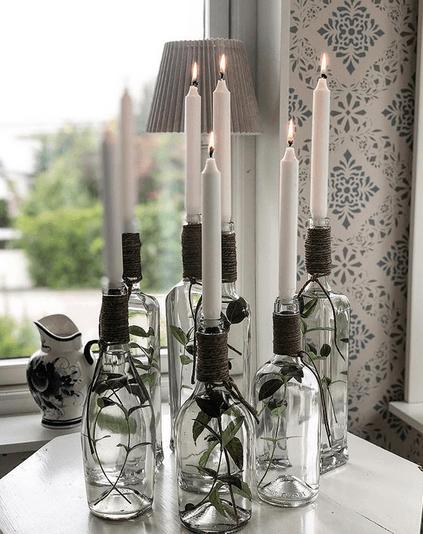 dekorera flskor ljushållare