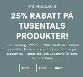 25 % rabatt stadium