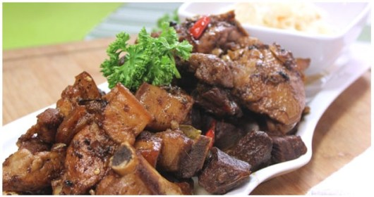 Chicken, Pork and Beef Adobo with Atcharang Papaya Recipe