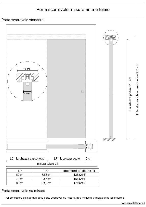 Porta Scorrevole cm 60x210