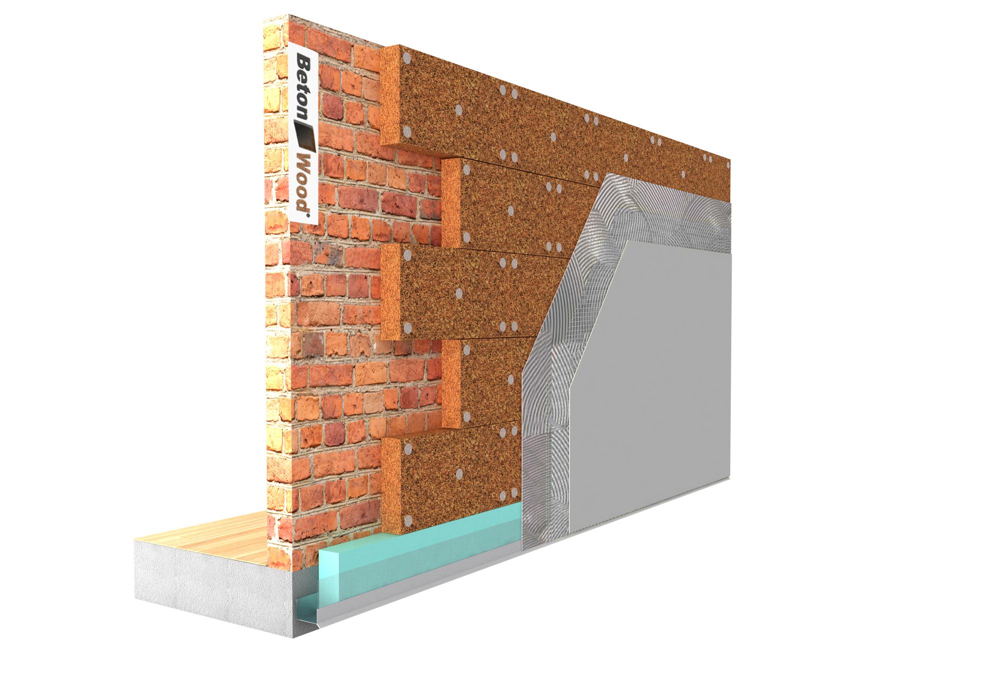 Soluzione tecnica Cappotto per isolamento termico esterno in pannelli sughero biondo su muratura