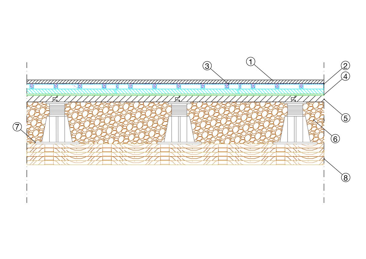 Soluzione tecnica Massetto radiante sopraelevato in Betonradiant e Betonwood su granulato in sughero biondo