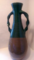 011 CH Brannam Barum (Barnstaple) double, twisted handled vase 2