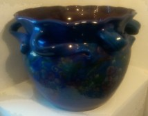014 Baron Barnstaple jardiniere blue glaze with vines bearing fruit 2
