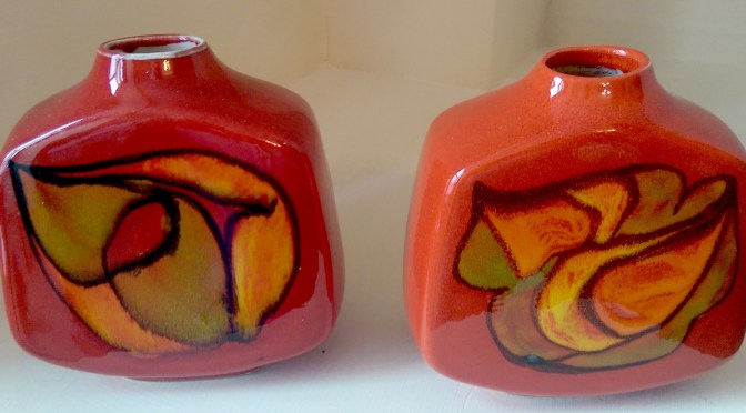 Pair of square Poole Pottery vases