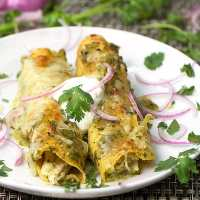 Chicken Enchiladas Verdes with Roasted Tomatillo Salsa