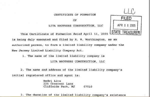 """Ekstrakti i kompanisë """"Lita Brothers Construction"""" në Nju Xhersi, e përfaqësuar nga Bedri Lita."""
