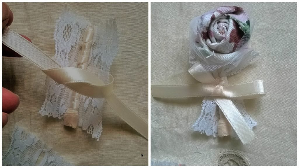 Tutorial shabby chic fiore all'occhiello