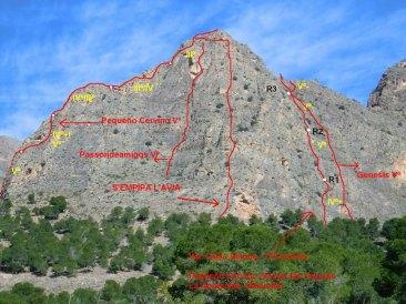 Croquis de algunas vías del Pequeño Cervino