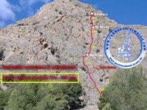 Croquis sobre foto de la vía Ruta de la Seda
