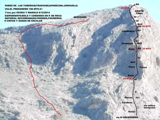 Croquis de la vía de escalada El Pregonero en La Aparecida (Orihuela)