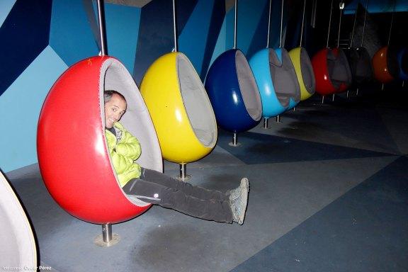 Sala de cine en las instalaciones de Klein Matterhorn. ¡Estábamos solos!