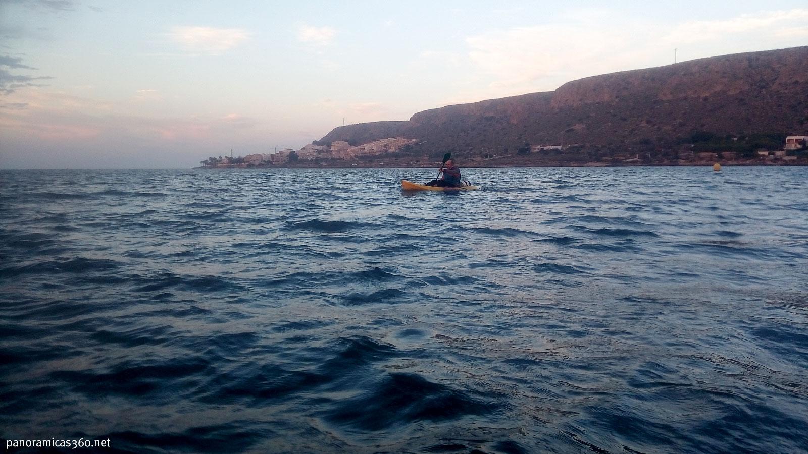 Isidoro comenzando la travesía cerca del Cabo de Santa Pola