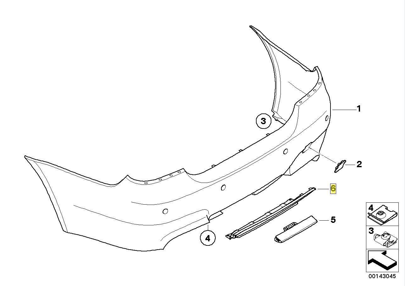 Bmw E60 E61 M5 Rear Bumper Air Diffuser Channel