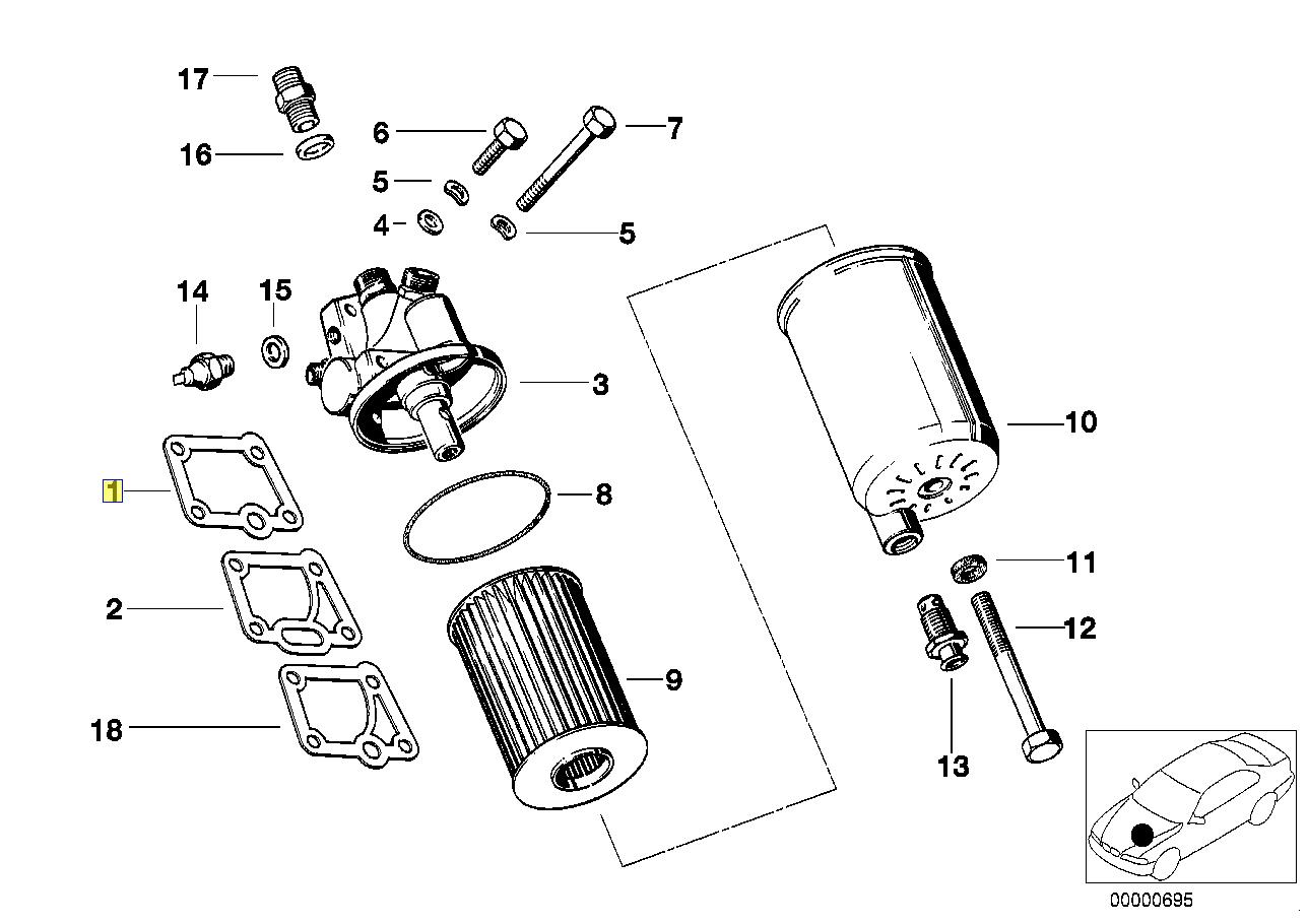 Bmw M30 M88 Engine Oil Filter Housing Gasket
