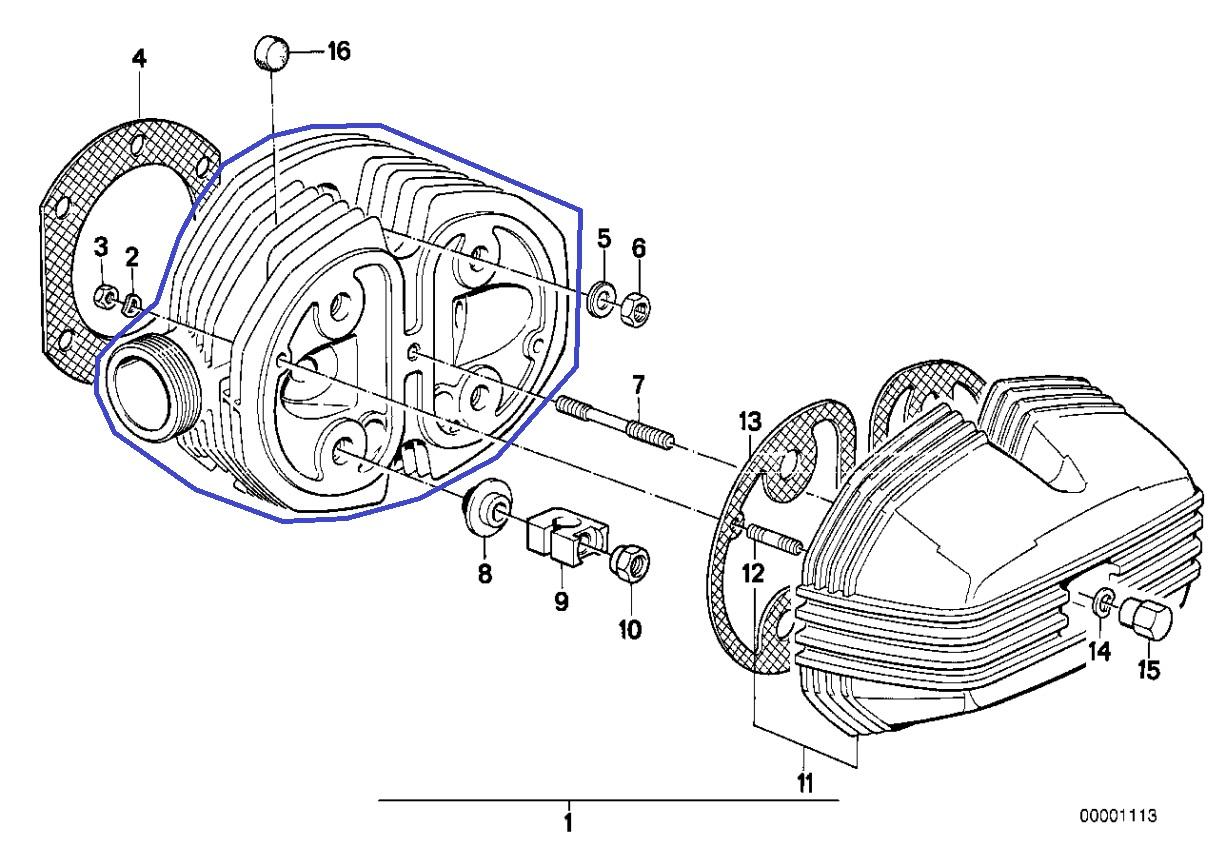 Bmw R45 R65 Boxer Engine Left Cylinder Head
