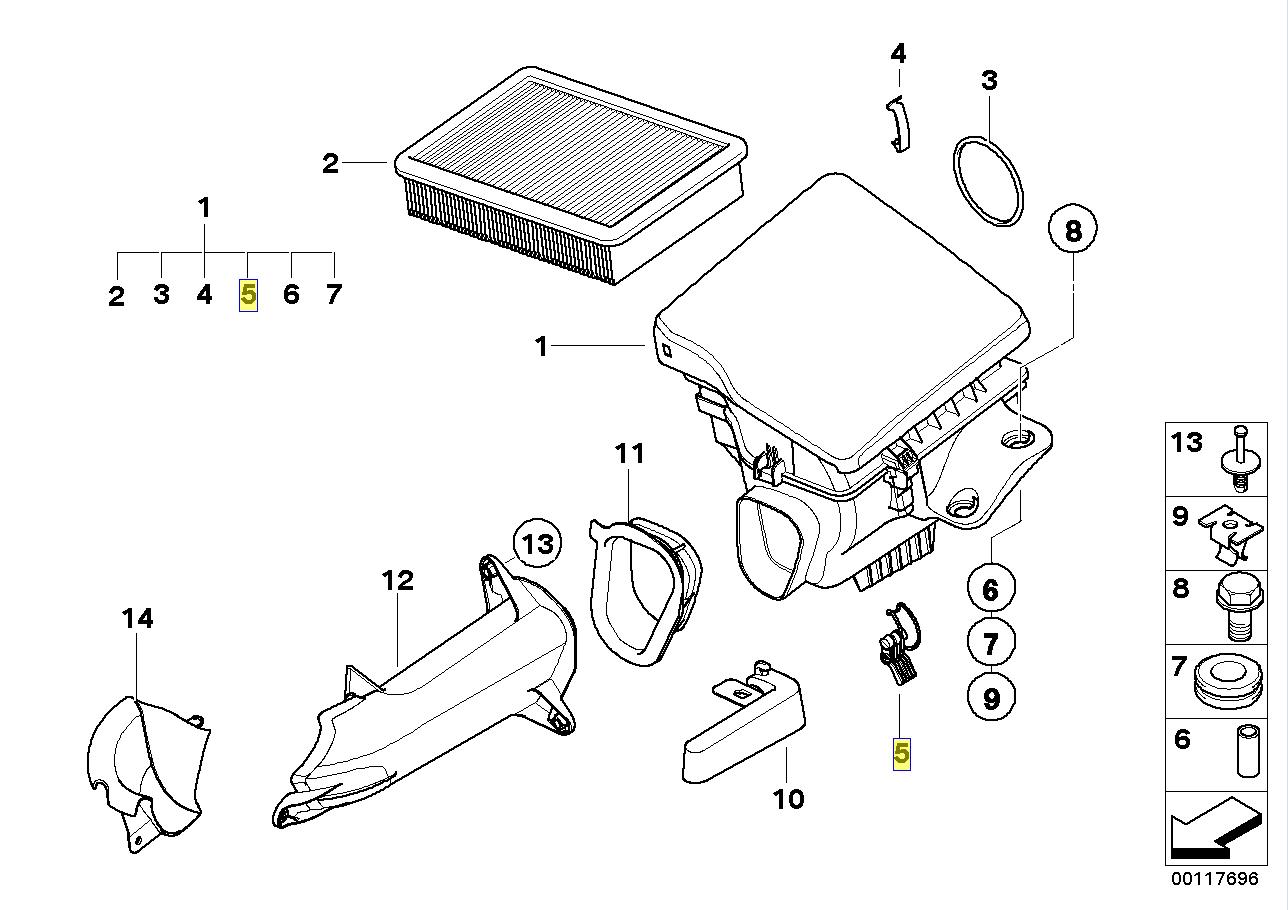 Bmw Air Filter Cleaner Housing Box Spring Clip