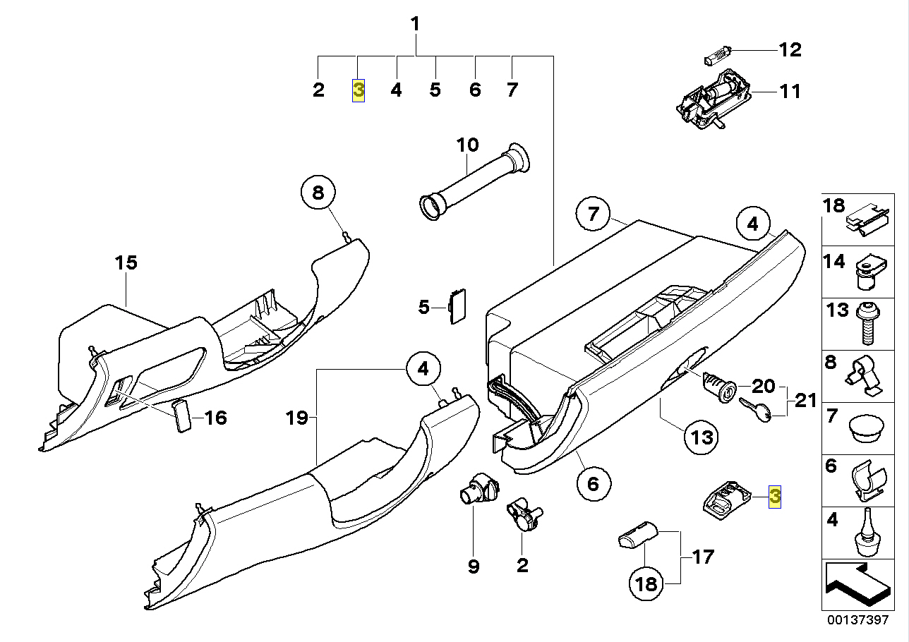 Bmw Mini R50 R52 R53 Glove Box Lock Striker