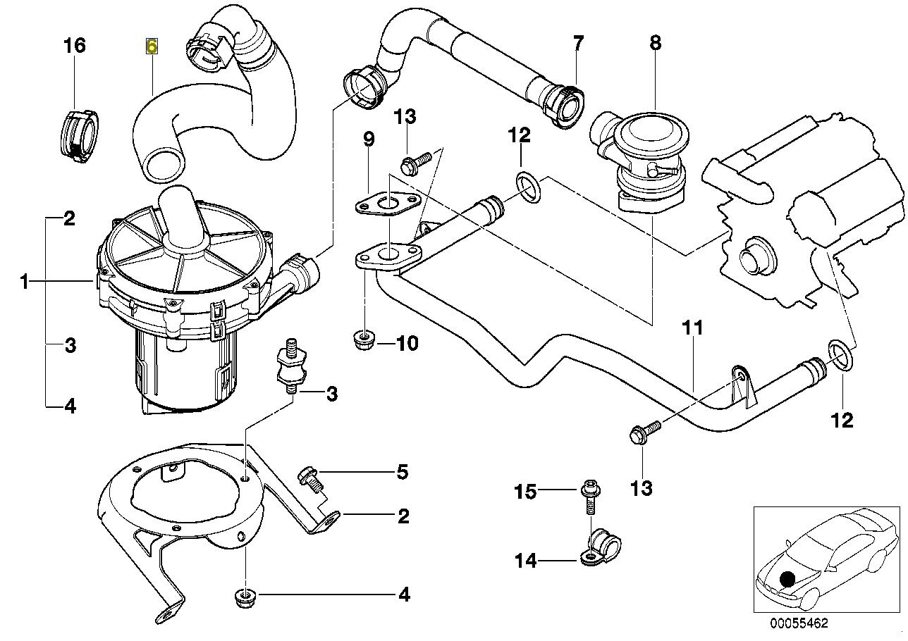 Bmw E53 M62 V8 Engine Sai Air Pump Hose Pipe