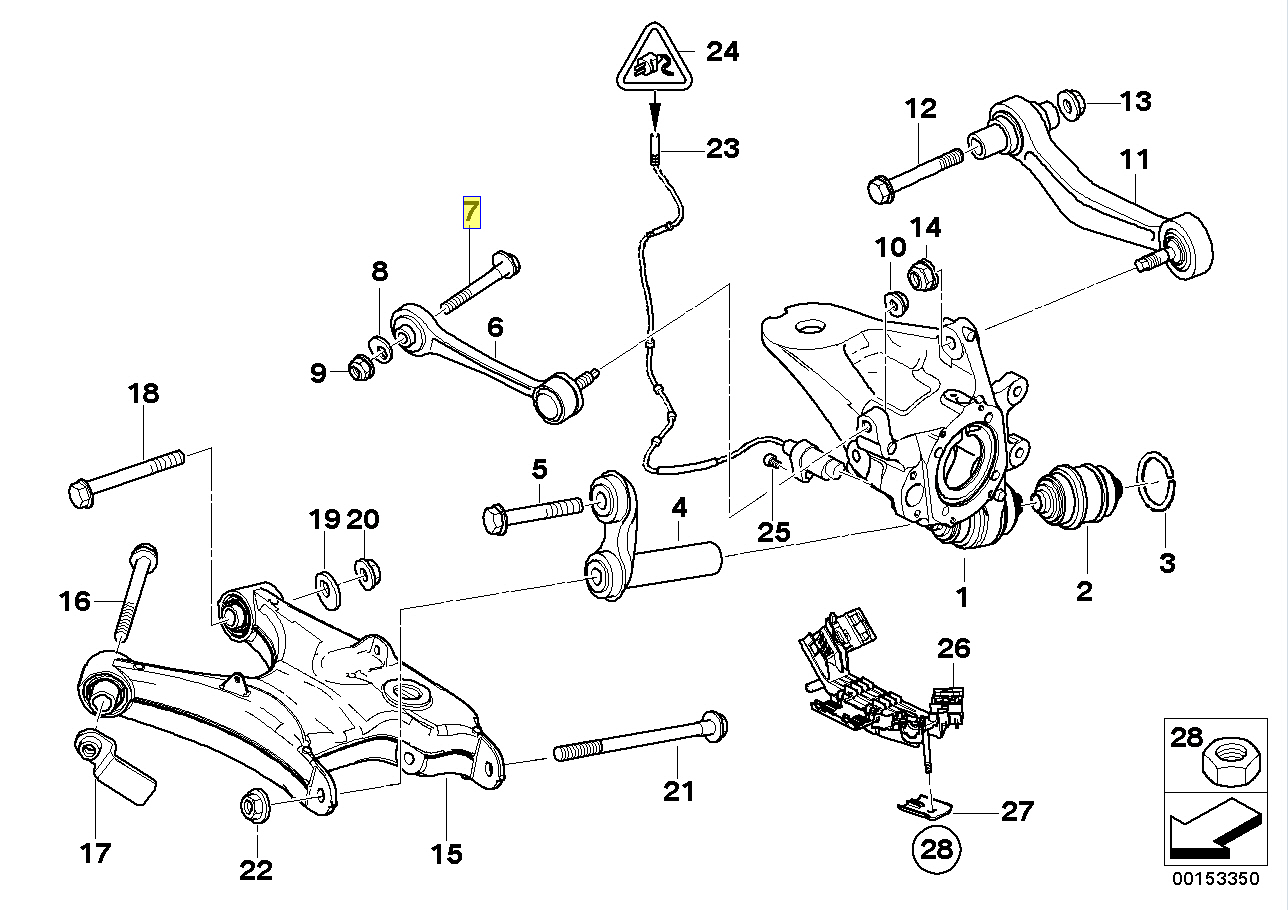 Bmw E38 Rear Wheel Toe Alignment Adjuster Bolt