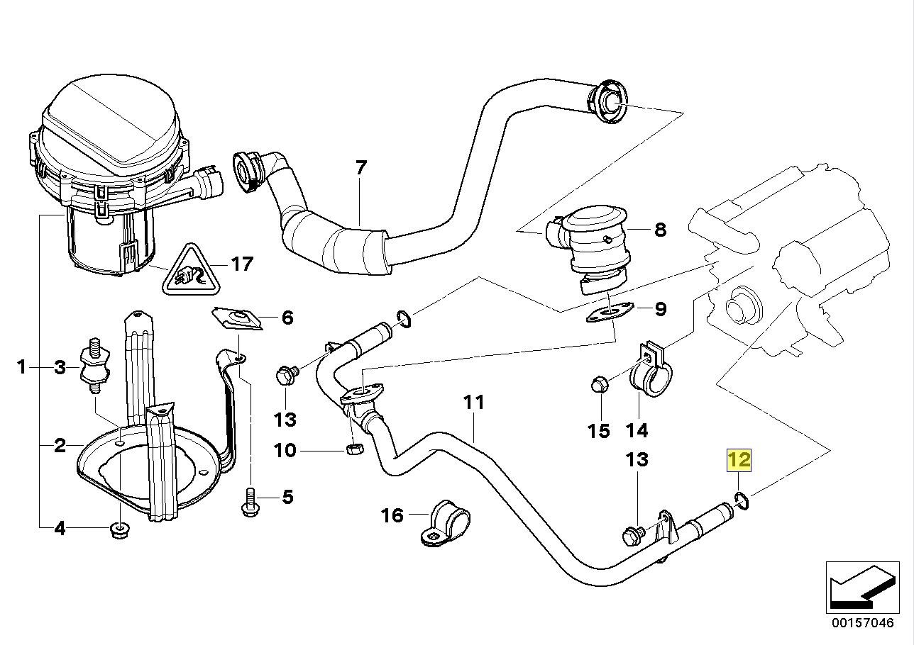bmw m62 s62 n62 v8 engine air pump pipe o ring
