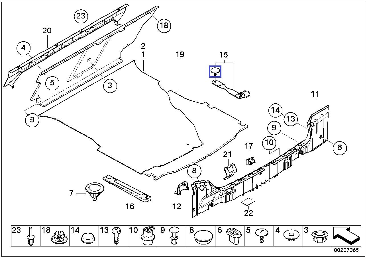 Bmw E46 E60 Boot Trunk Floor Strap Clip Rivet