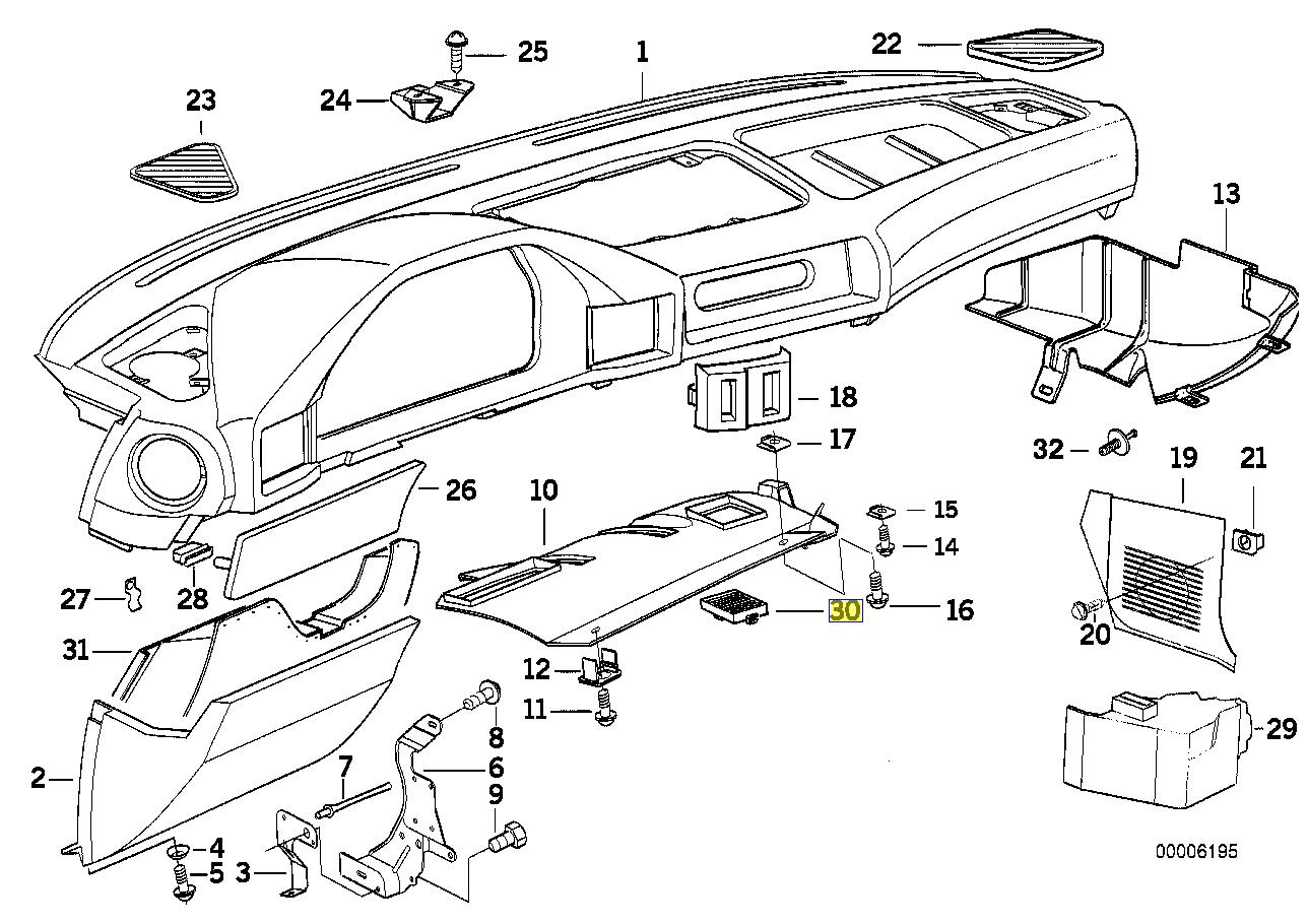 Bmw E34 Fu Raum Klimaanlage A C Sensor Grill Offnung