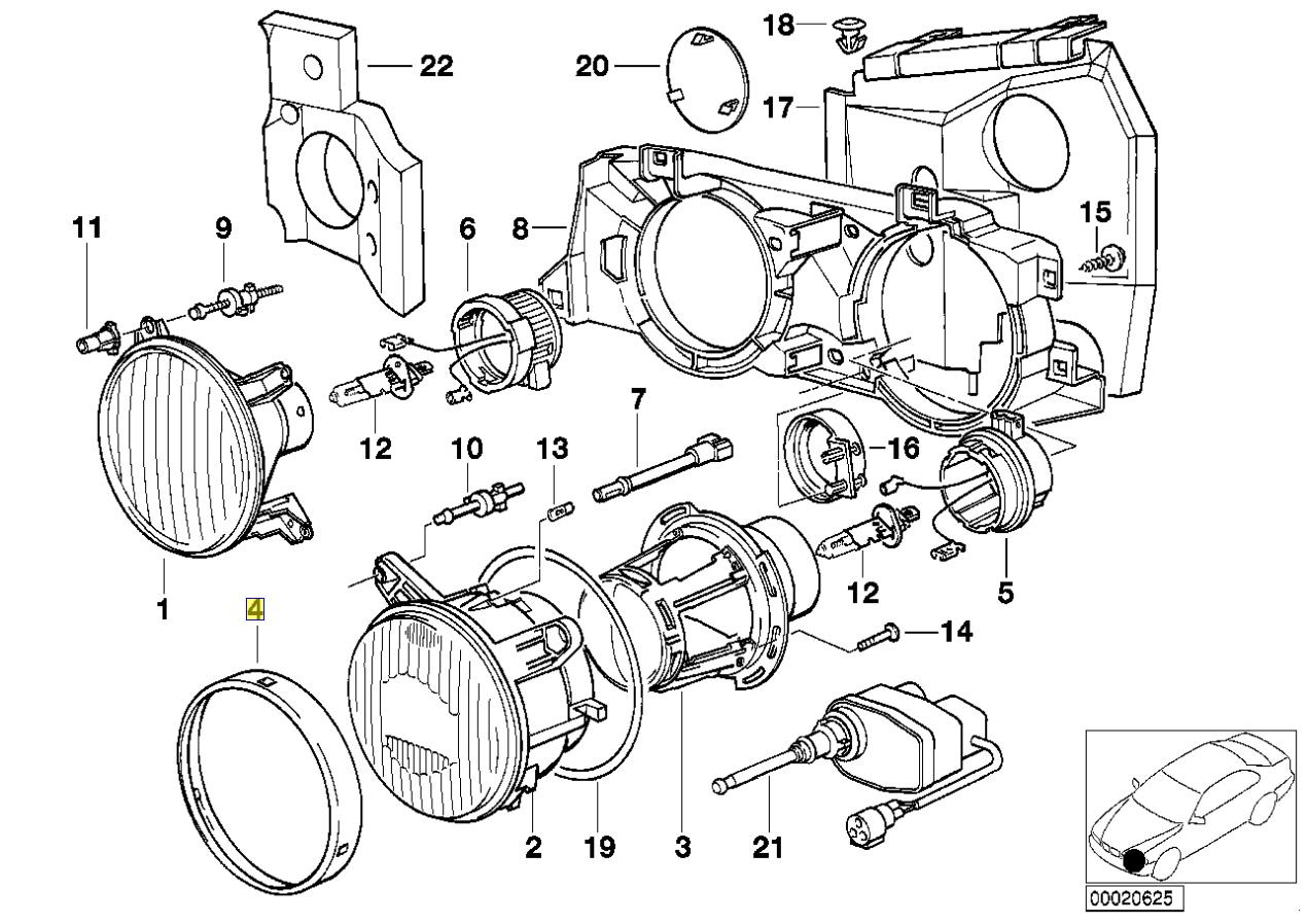 Bmw E34 E24 E32 Kopf Lampe Licht Chrom Ring