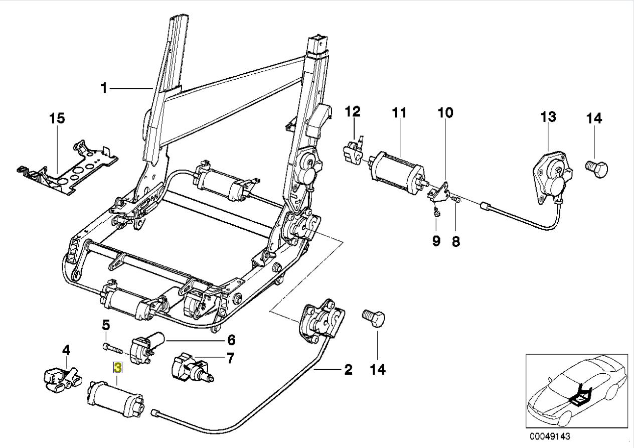 Bmw Series 8 E31 Seat Backrest Drive Motor