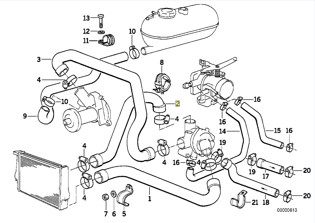 Bmw E30 M20 Engine Radiator Water Top Hose Pipe