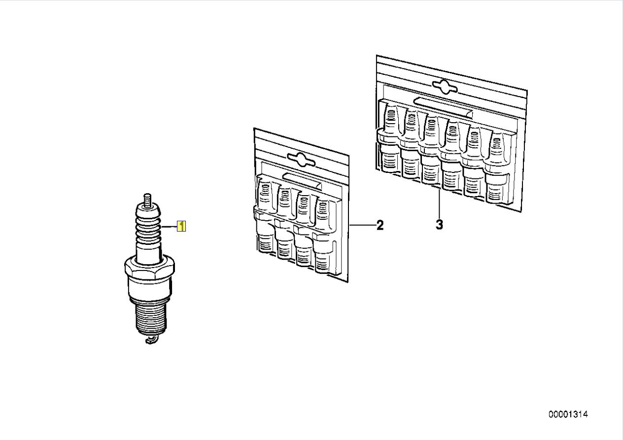 Bmw Series 3 E30 M20 Engine Spark Plug W7dcr