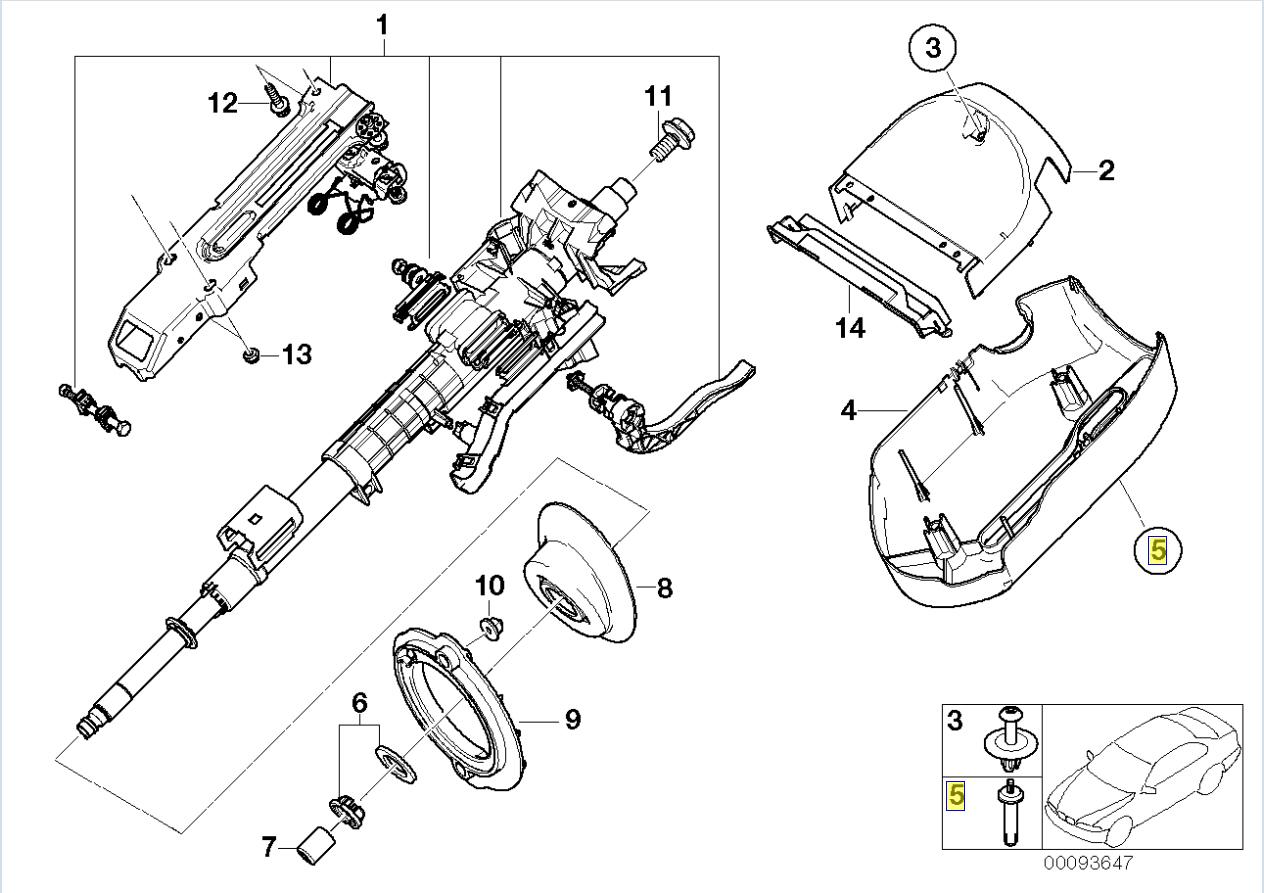 Bmw E46 E83 Steering Column Trim Clip Rivet