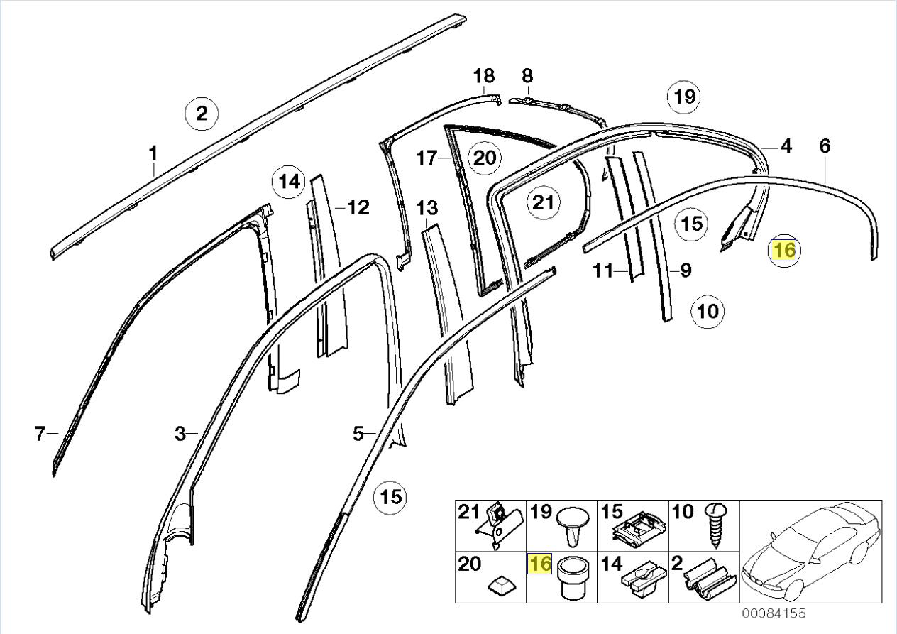 Bmw Body Trim Strip Moulding Clip Plug Grommet