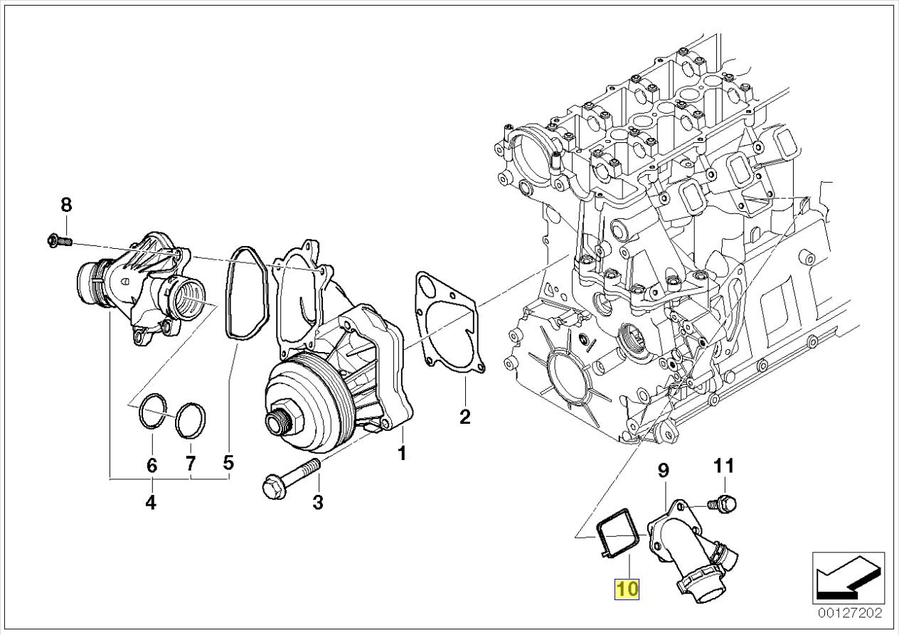 Bmw M47n M57 Engine Coolant Pipe Seal Gasket