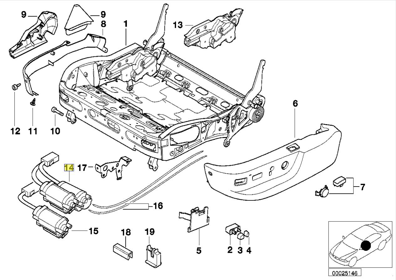 Bmw E39 E38 Electrico Ajustador De Asiento Direccion Motor