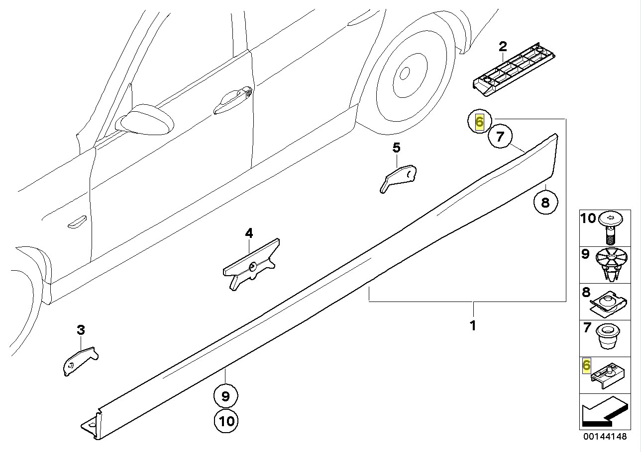 Bmw E36 E46 E90 E91 Side Skirt Sill Cover Clip