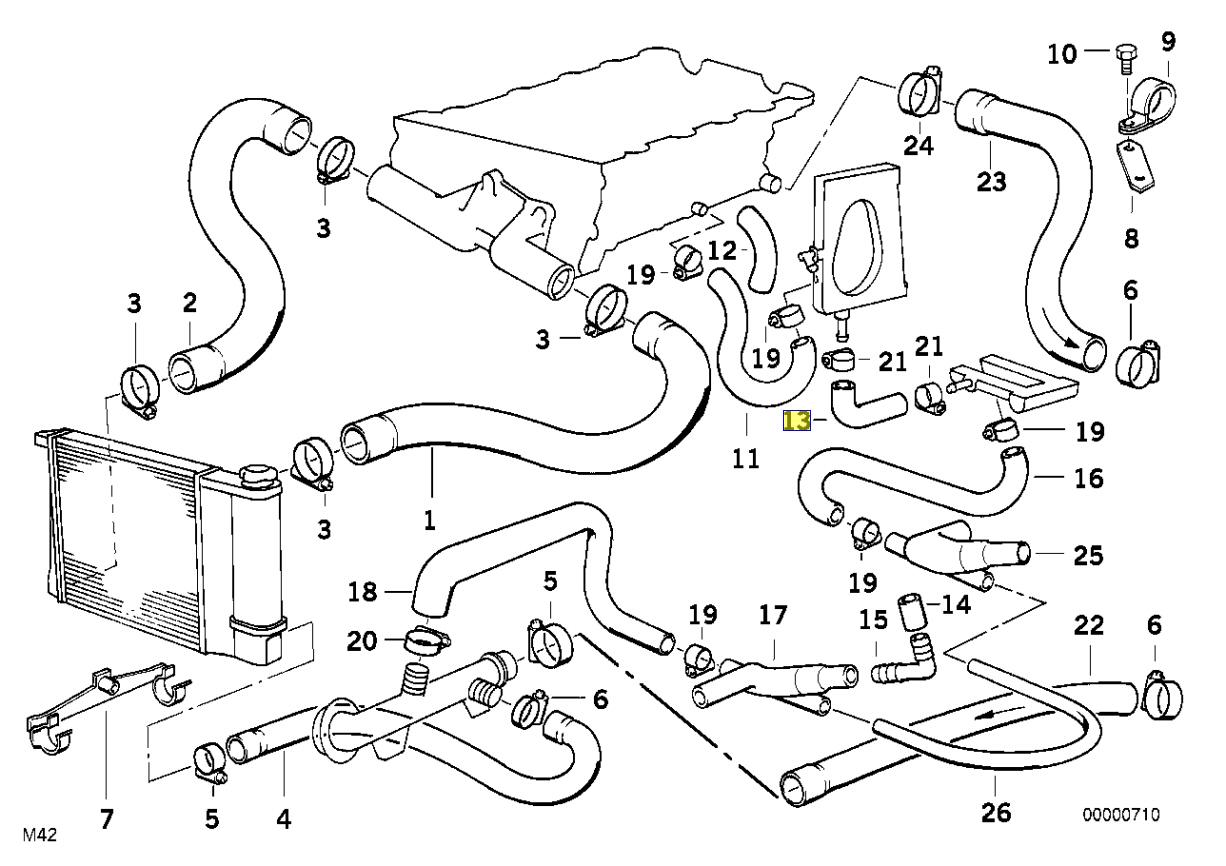 Bmw E30 M42 Engine Coolant Water Hose Pipe Line