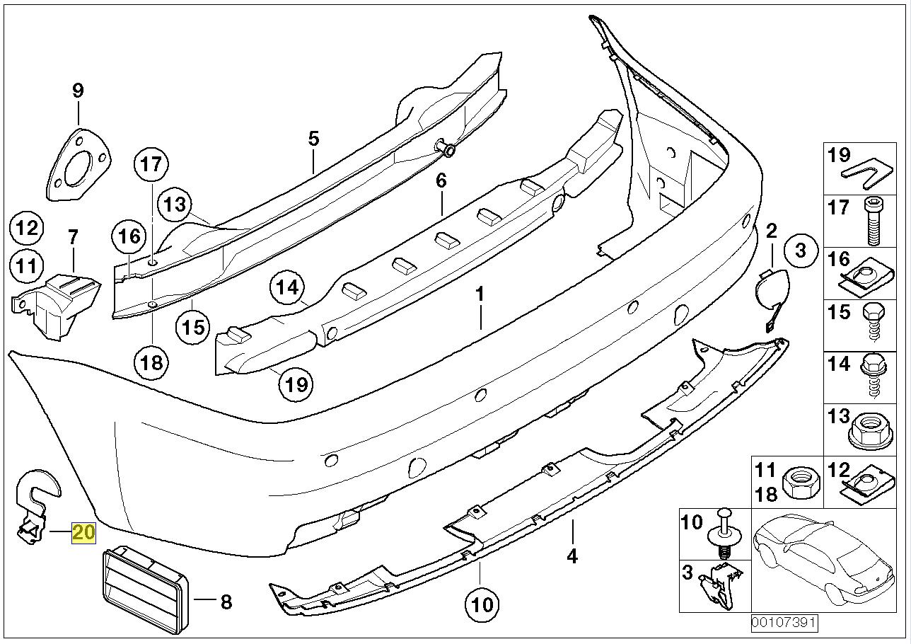 Bmw E46 M3 Rear Rh Bumper Holder Bracket Clip