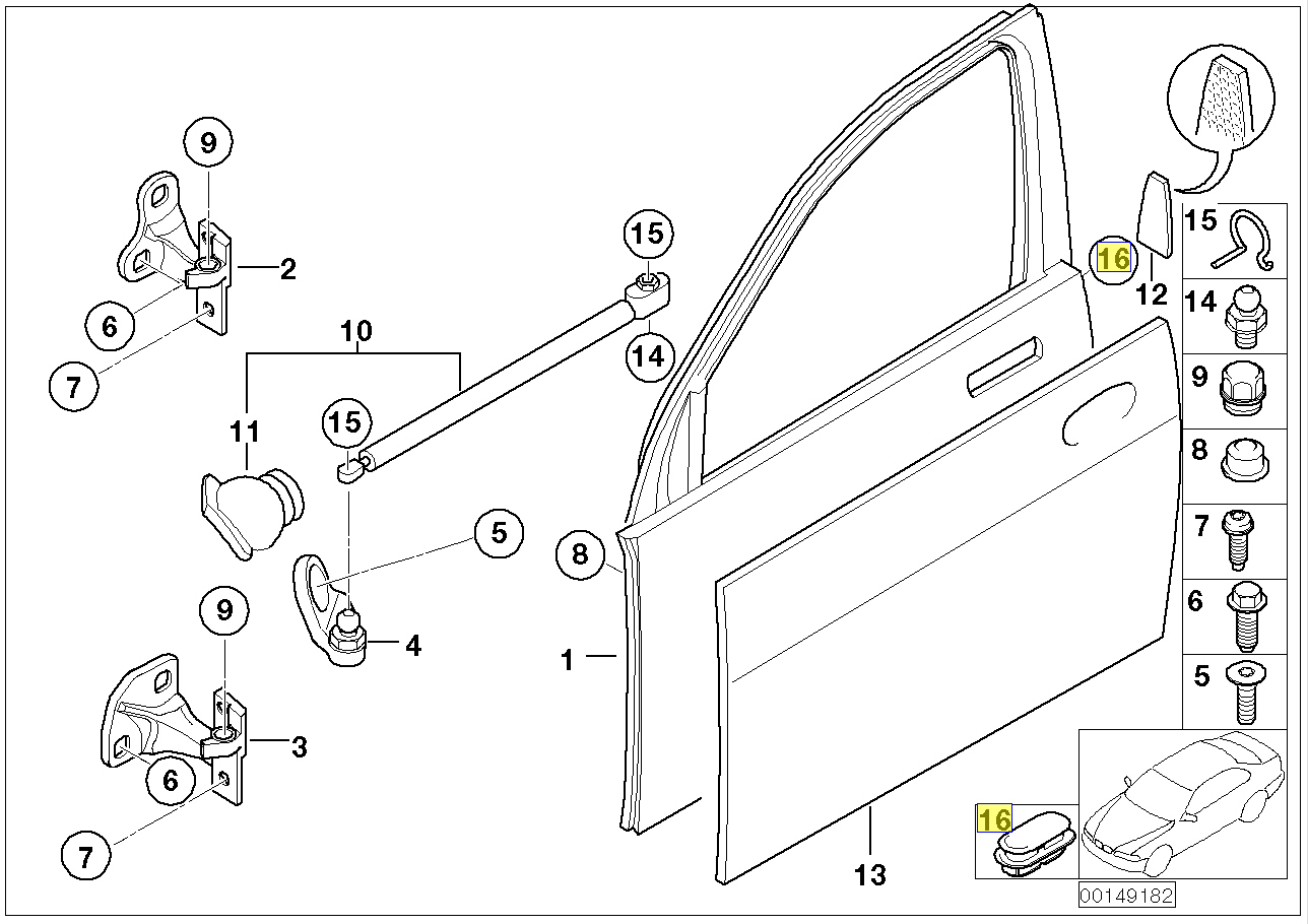 Bmw Door Access Hole Plug Grommet Cover 24x12mm