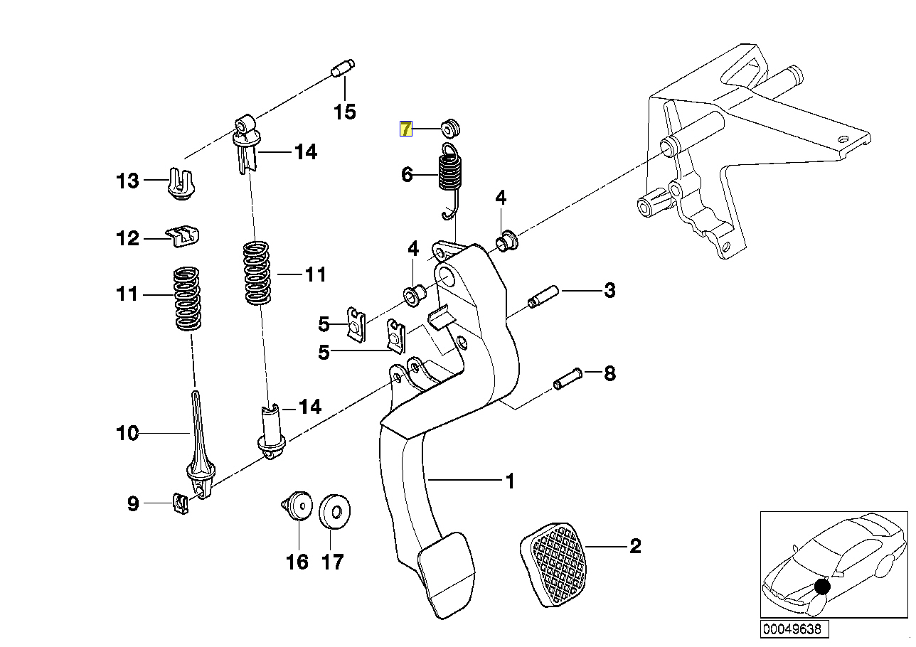 Bmw Clutch Throttle Pedal Spring Bush Grommet