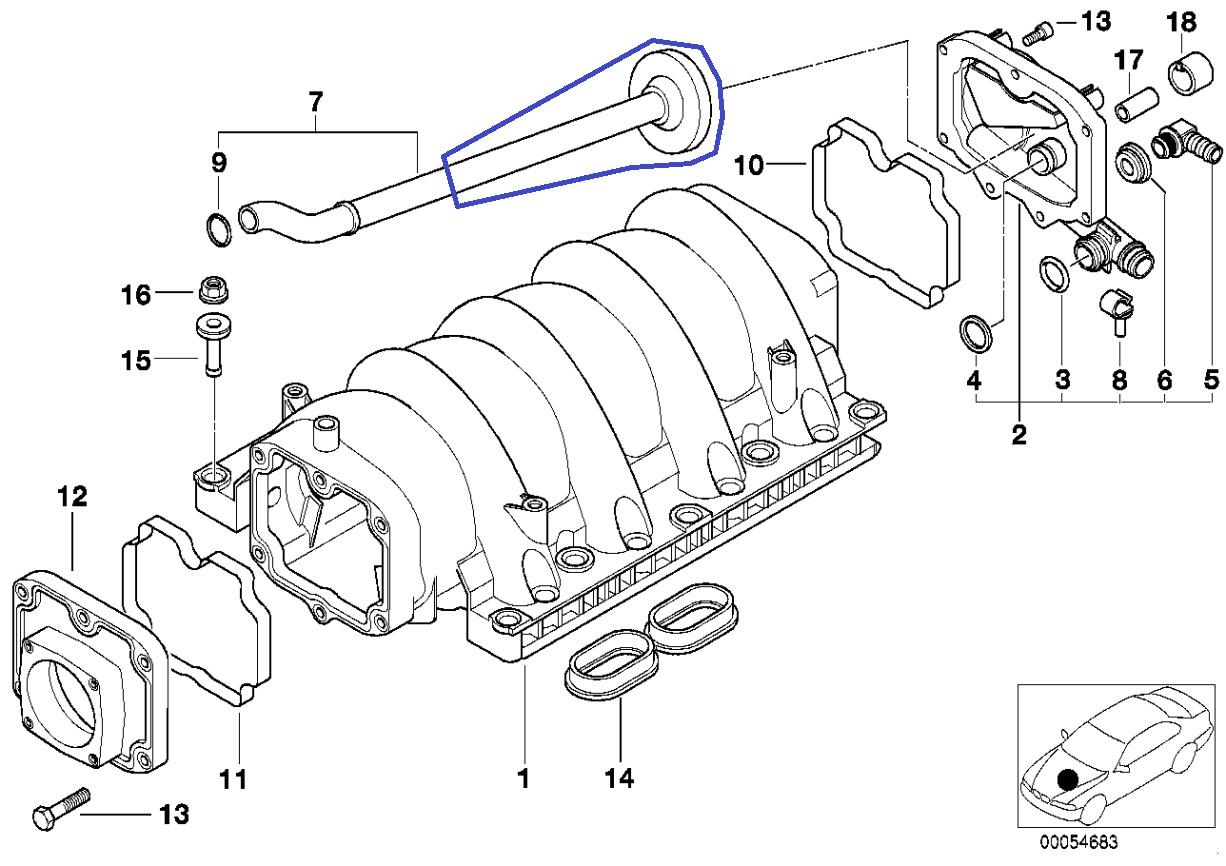 Bmw M62 V8 Engine Intake Manifold Pcv Vent Pipe