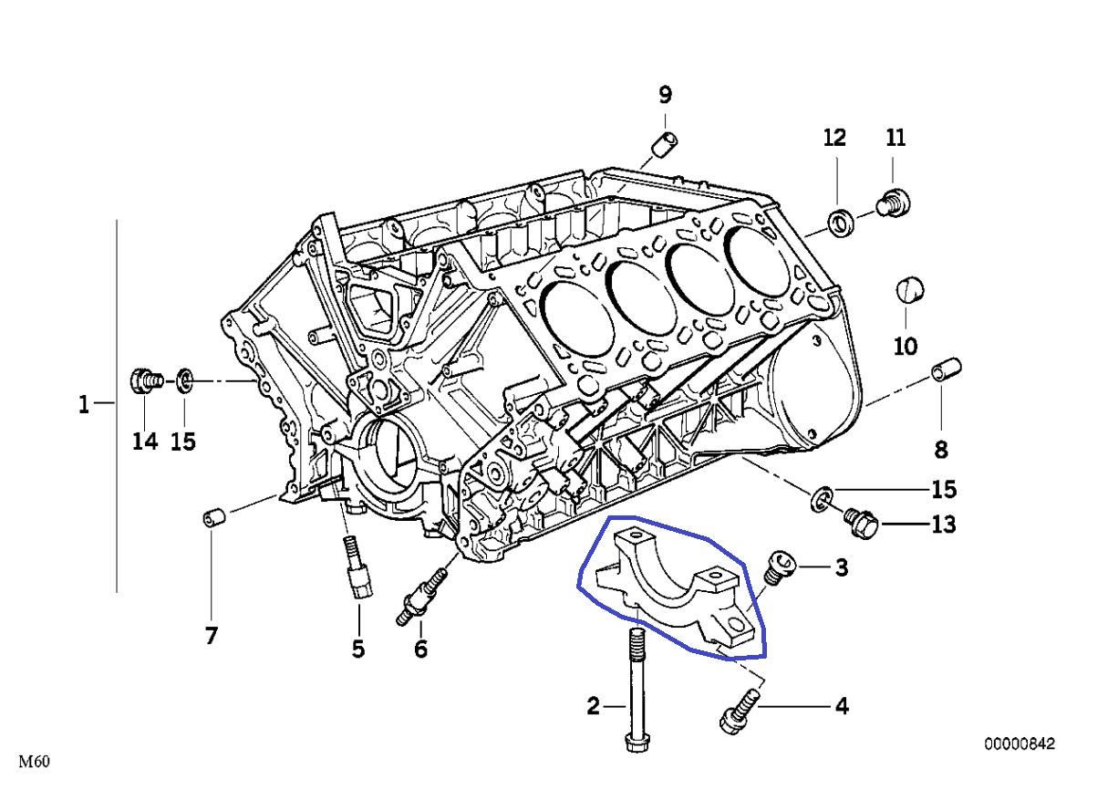 Bmw M60 V8 Engine Crankshaft Main Bearing Cap