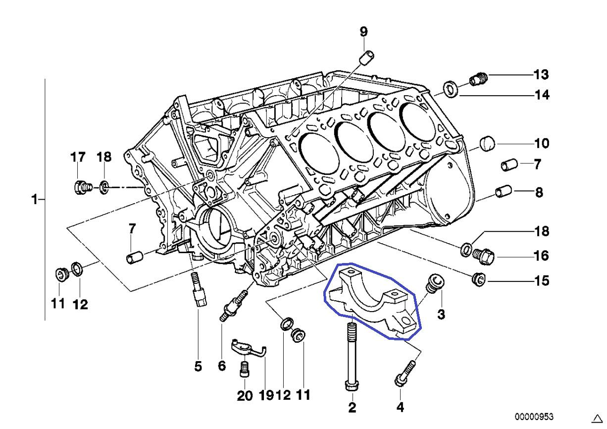 Bmw M62 V8 Engine Crankshaft Main Bearing Cap