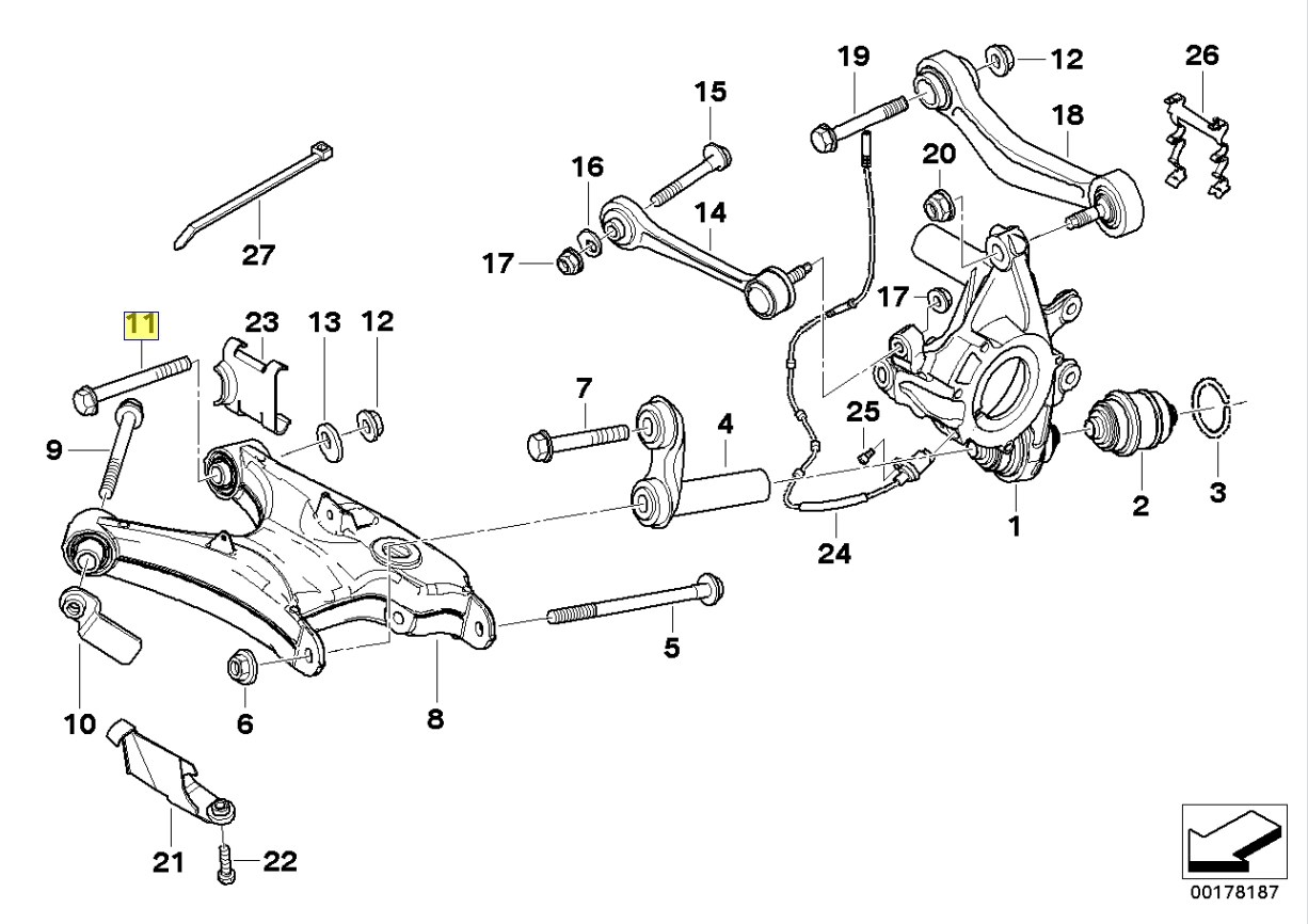 Bmw E39 E46 Rear Wheel Camber Adjustment Bolt