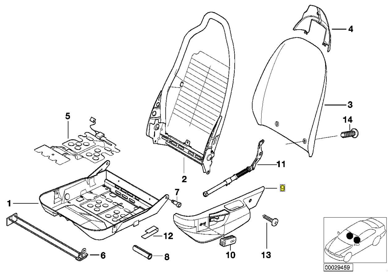 Bmw Z3 E36 Left Seat Tilt Lever Handle Spring