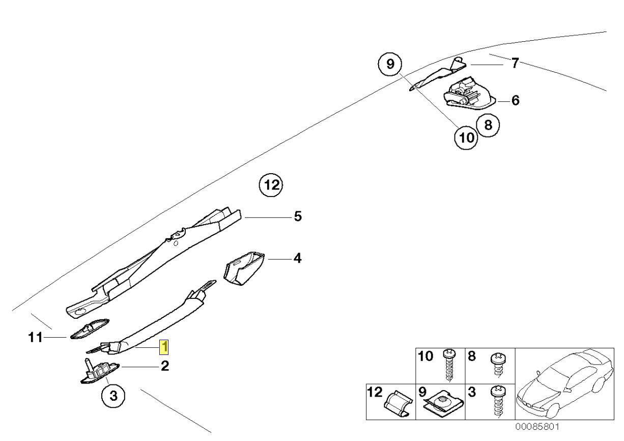 Bmw E46 E36 Z3 Anteriore Tetto Appiglio Cortesia Maniglia